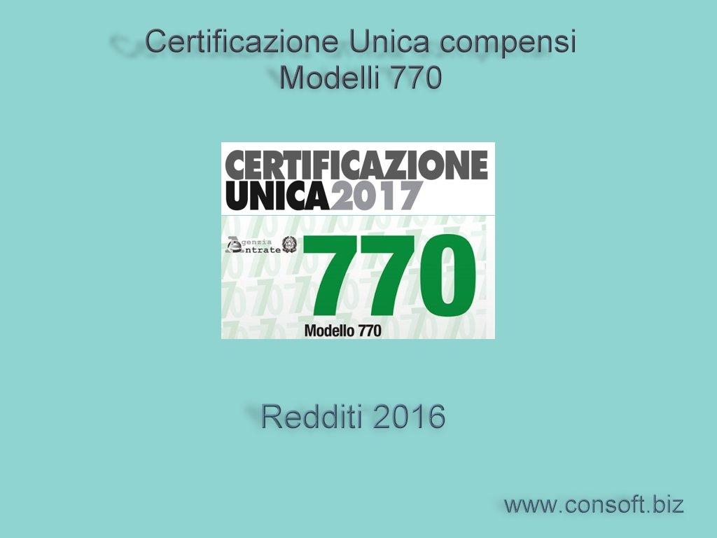 CU/770 2017 : Revisione Del 28/02/2017